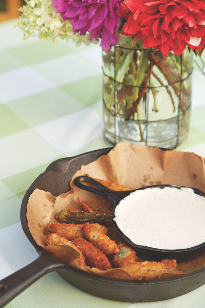 Vie Magazine James Farmer food CORNMEAL-CRUSTED OKRA WITH ZESTY SOUR CREAM