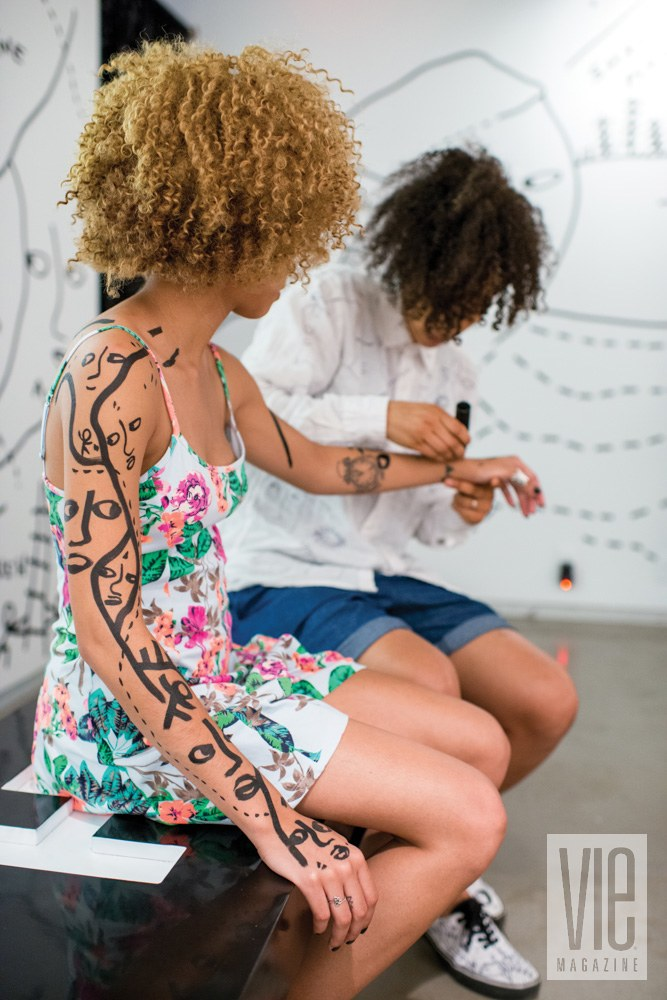 "Martin takes her motto of ""drawing on everything"" quite literally at a solo show in the Museum of Contemporary African Diasporan Arts in Brooklyn, New York. Photo by Roy Rochlin"