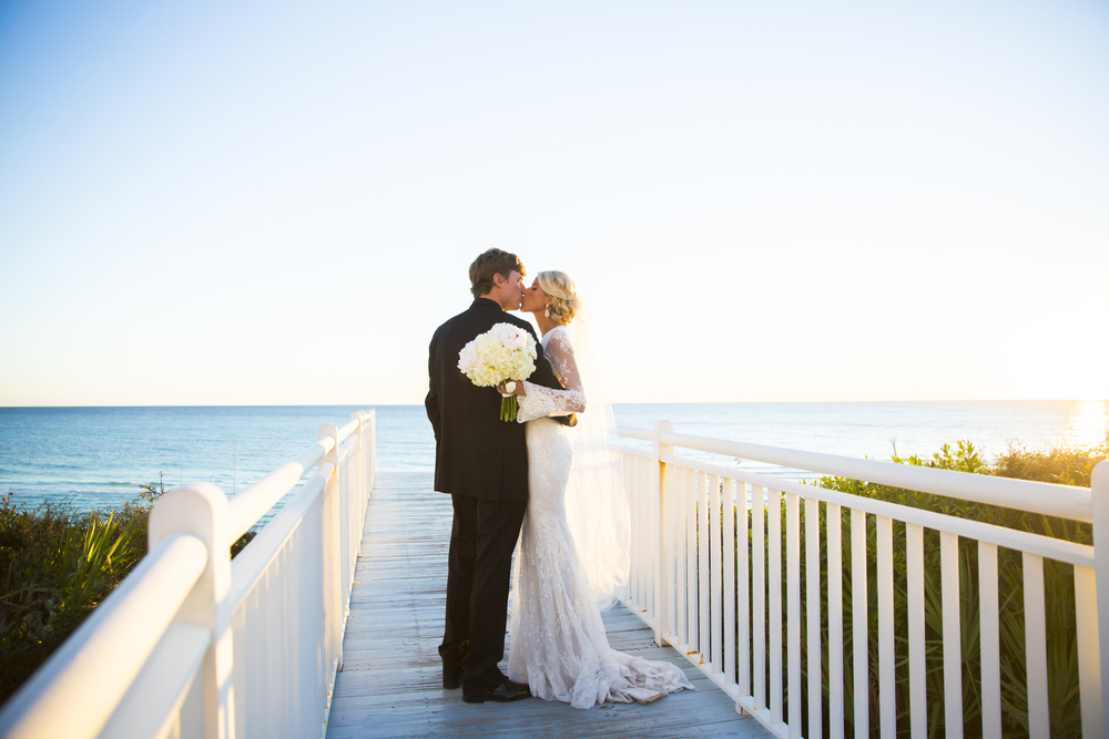 wedding picture during sunset at Alys beach Florida