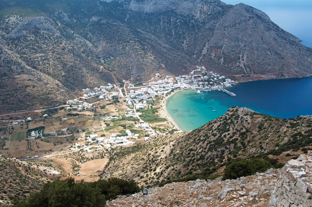 Mountains by town and beach in Greece