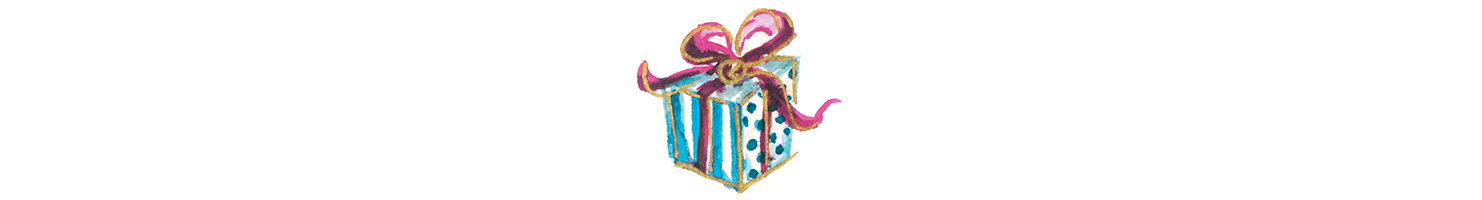 water color drawing of a wrapped gift by Lucy Mashburn