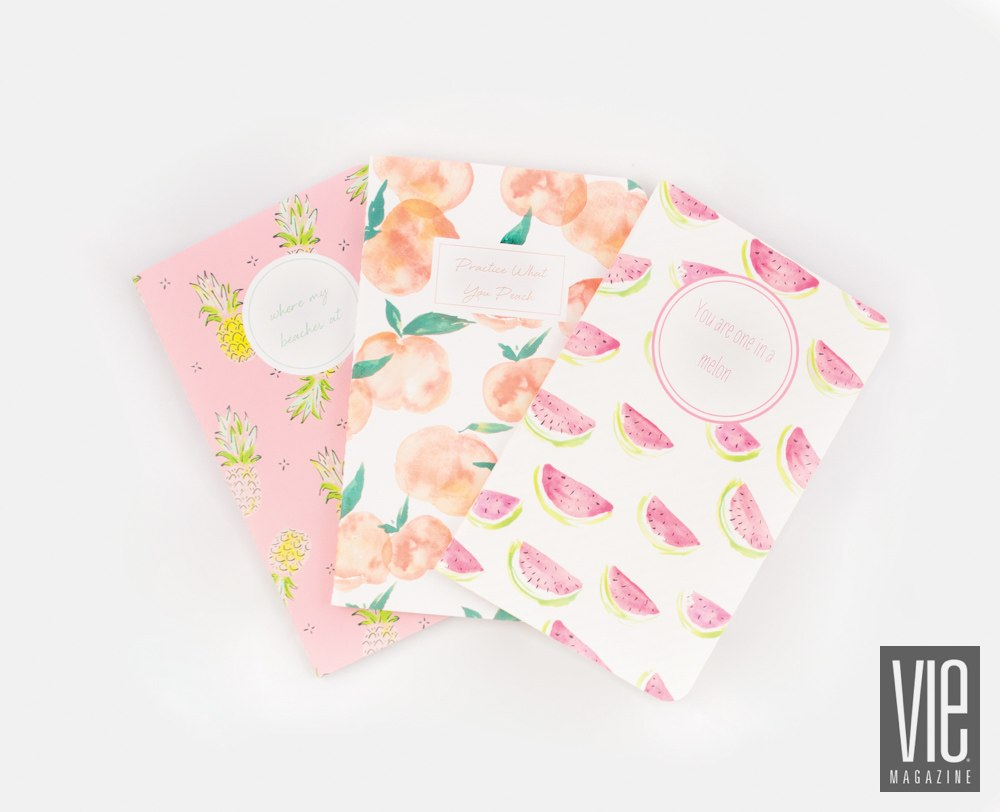 Journals in fun fruity prints by May Designs