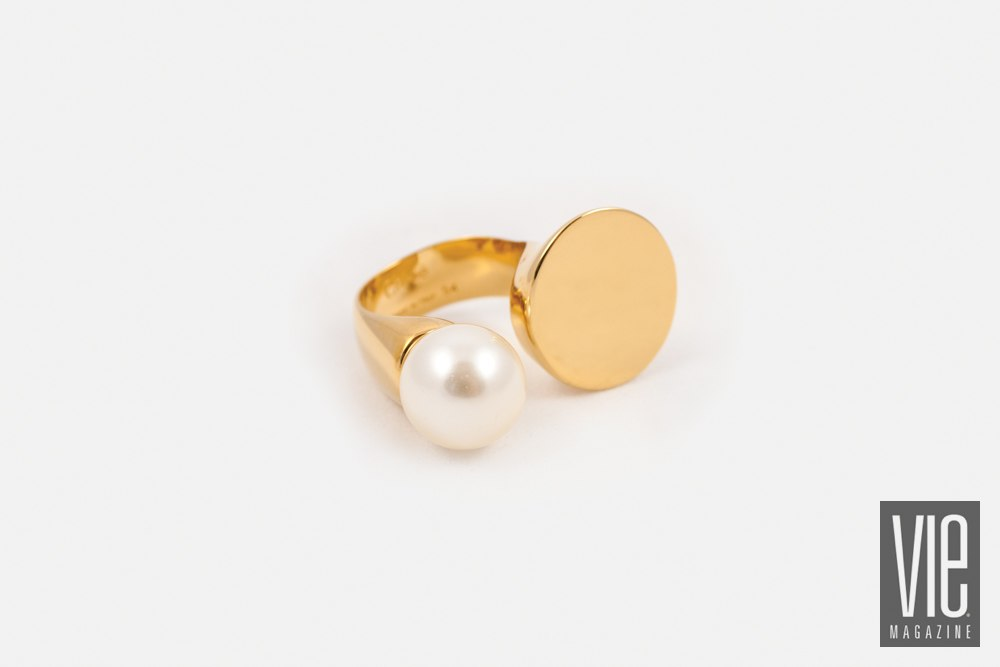 simulated pearl and golden brass disc ring