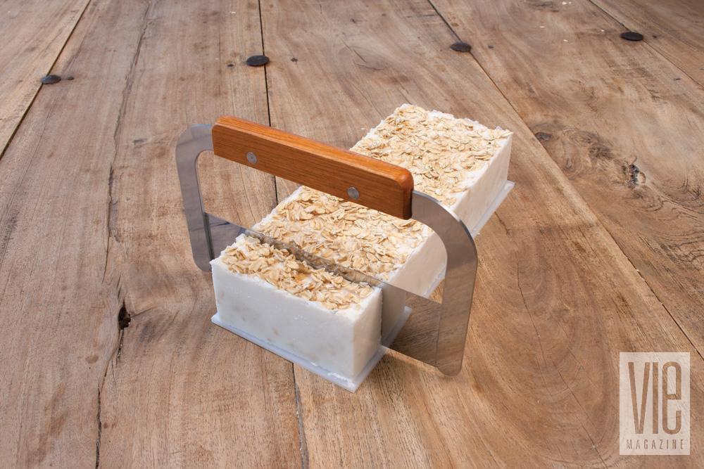 Cutting homemade soap