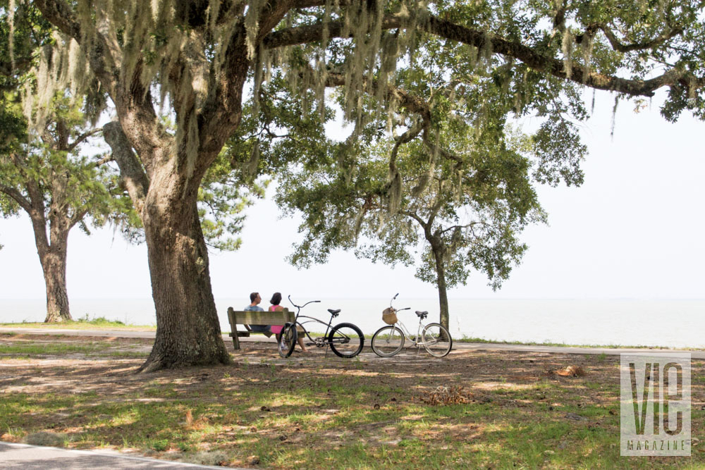 Sitting on a bench under a tree in Fairhope, Alabama