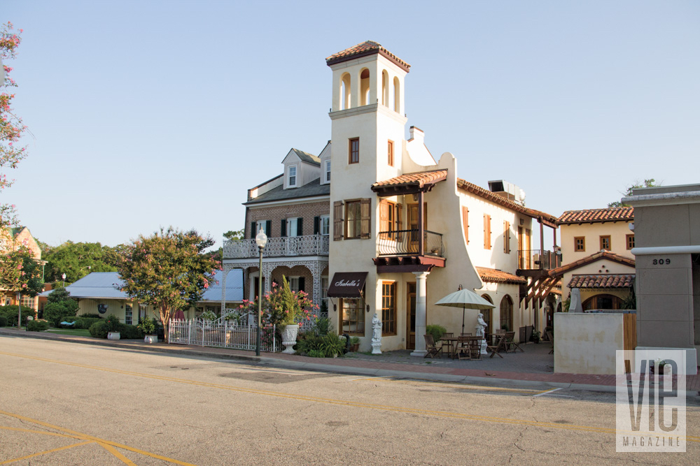 Unique buildings and Isabella's restaurant in Fairhope, Alabama