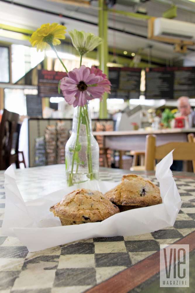 Flowers and muffins at Windmill Market in Fairhope, Alabama