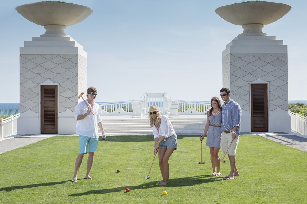 Afternoon croquet on the Gulf Green of Alys Beach