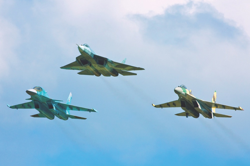 Left to right: Su-34, PAK FA, Su-35