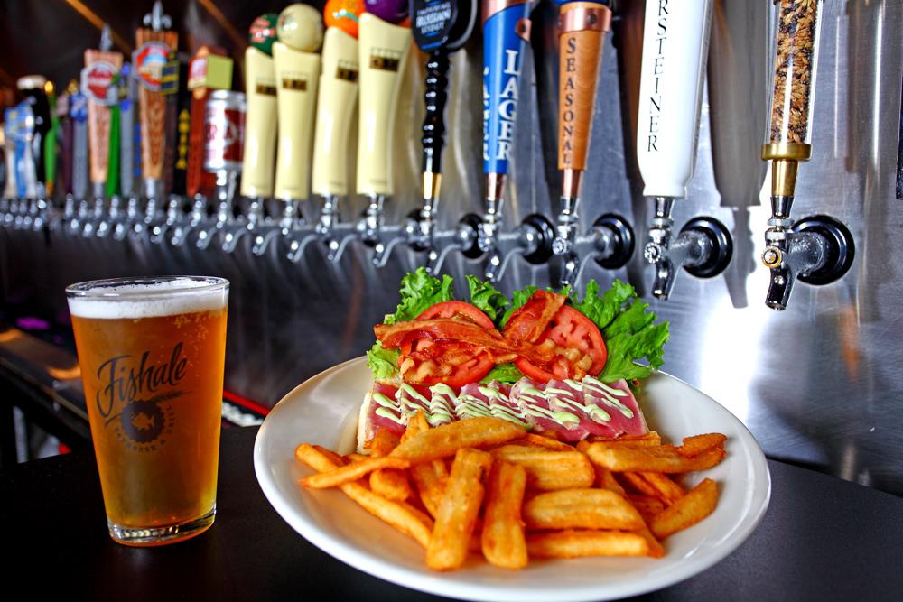 Fishale's signature sandwich, ahi tunawith wasabi mayo