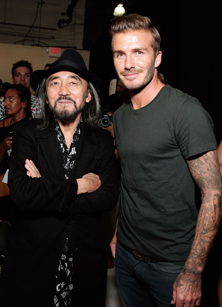 Designer Yohji Yamamoto with David Beckham at the Y-3 10th Anniversary Collection Photo by Joe Kohen