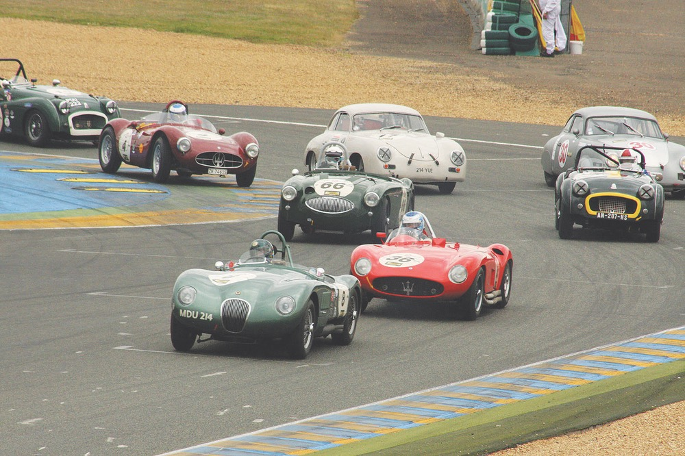 A beautiful, sleek Jaguar C-Type leads this pack of vintage cars from the 1949–1956 grid, including Austin-Healey, Maserati, Porsche, and Triumph