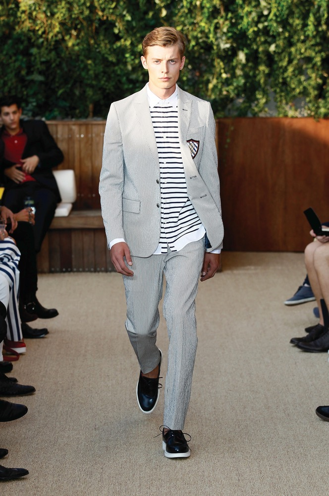 Graphic stripes took center stage at Tommy Hilfiger Photo by Peter Michael Dills