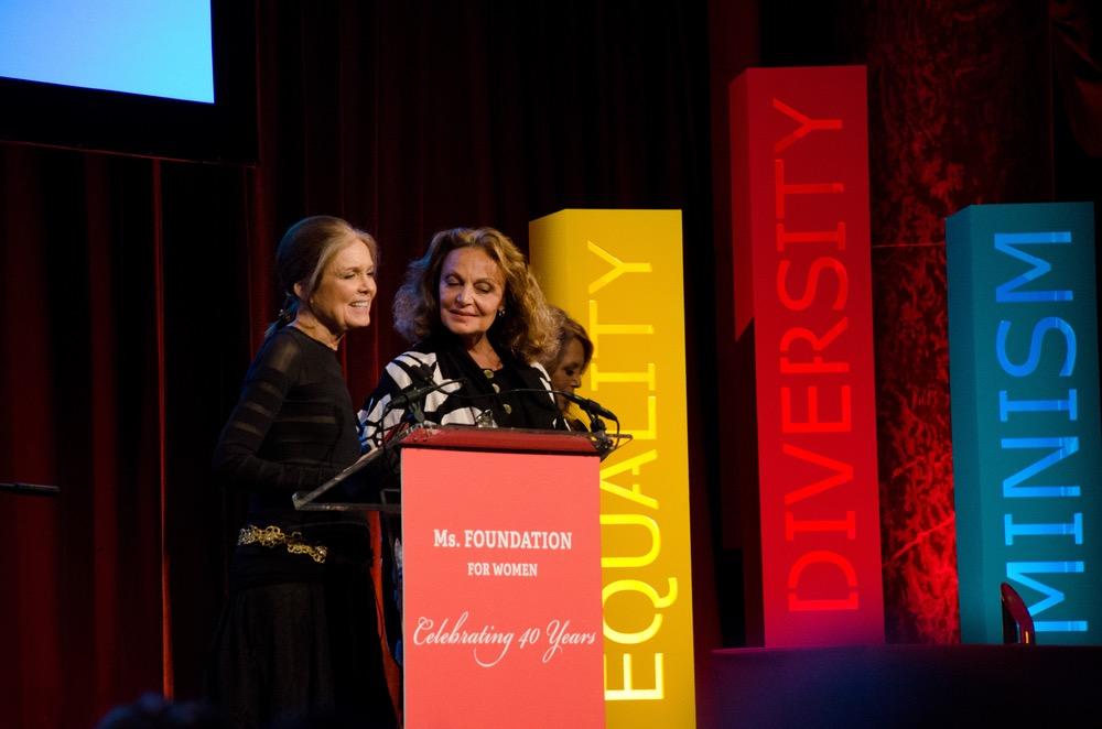 Gloria Steinem and Diane von Furstenberg speaking at Ms. Foundation's Gloria Awards