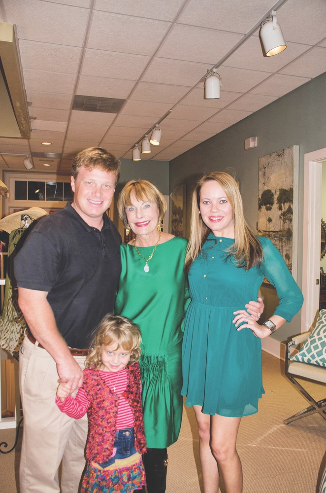 Clayton Bonjean, Susan Lovelace, and Lauren Gall with Ava Bonjean