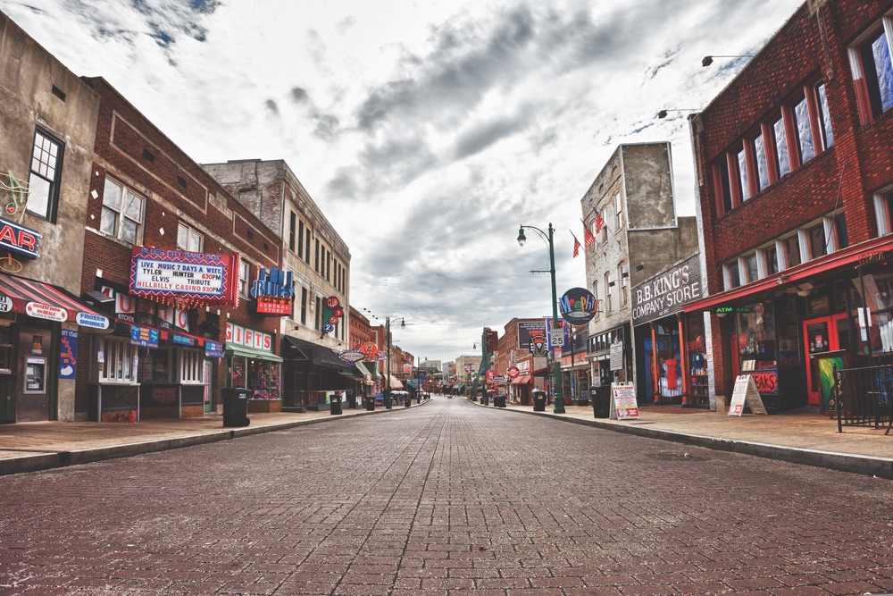 Beale Street on a quiet Sunday morning memphis music legends