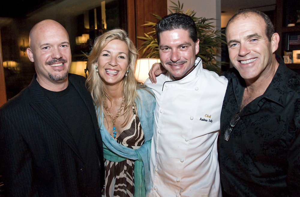 Mike Campbell, (Pride Mountain Vineyards). Lynn Douglas, Chef Andrew Selz, Steve Dugas