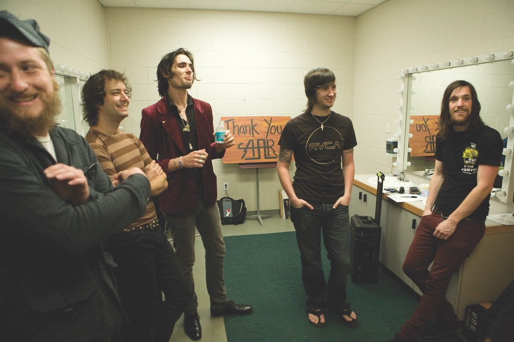 All-American Rejects backstage at Taylor Haugen Foundation benefit concert Photo by Clint Brown