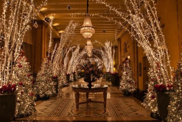 The Christmas decor inside the Roosevelt Hotel's foyer. Photo courtesy of The Roosevelt.