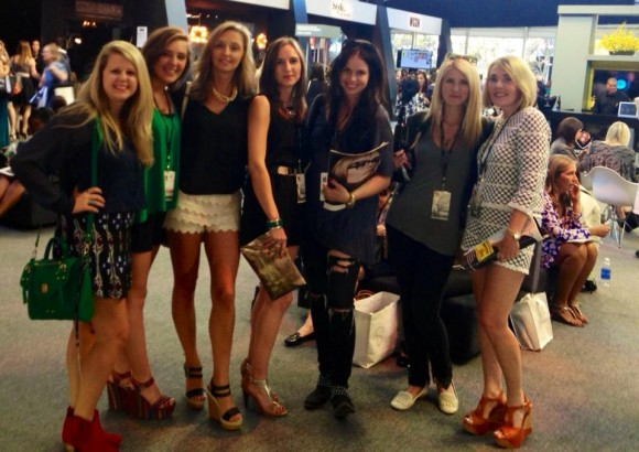 Jordan Staggs, Abigail Ryan, Renee Ryan, Tracey Thomas, Caroline Watts, Lauren Spring, and Lisa Burwell inside The Tents at NY Fashion Week.