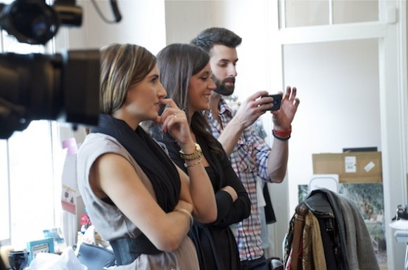 Tracey Thomas, Ainsley Rogers, and Charlie McLoughlin keep an eye on the models during the shoot for VIE.