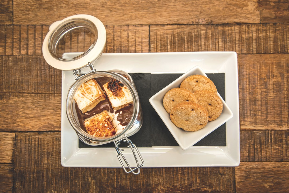 Beachside S'mores By Havana Beach Bar And Grill With A Jar of Melted Chocolate Toasted Marshmellows and Graham Crackers