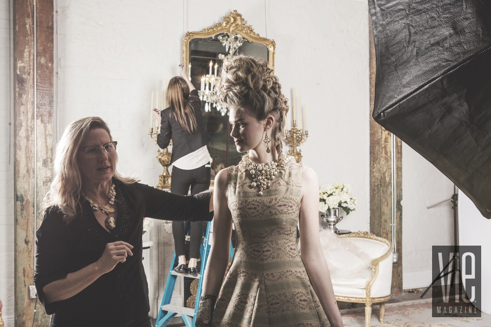 Jewelry Designer Mary Kay Samouce of Adorn by Samouce Styling Model Miranda Abney During Photo Shoot