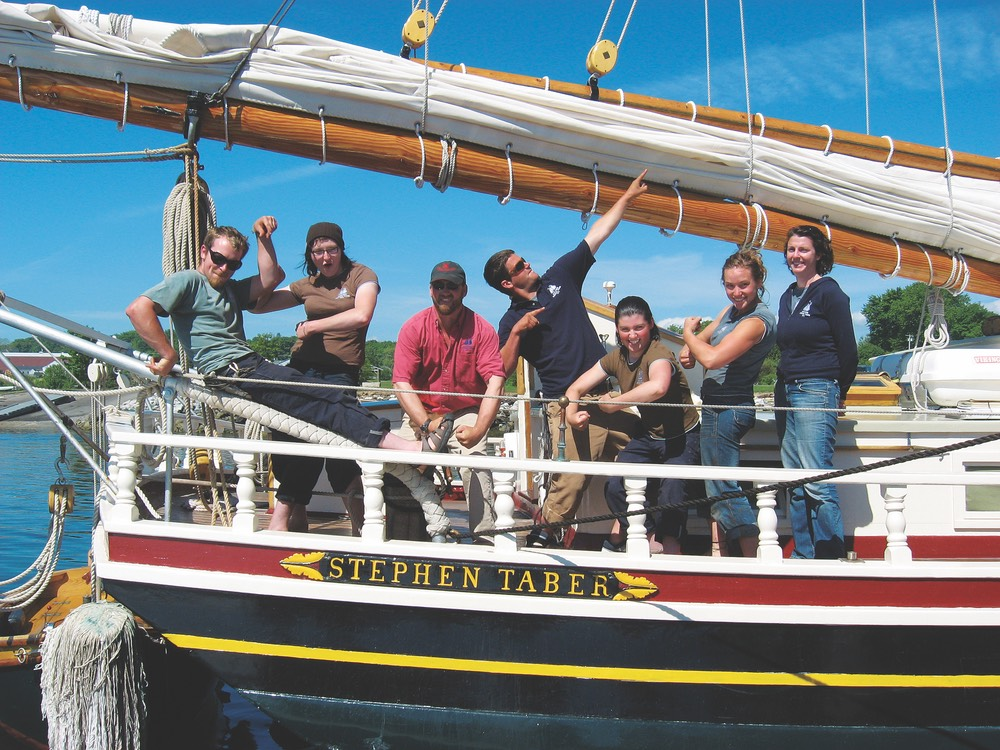 The crew of the Stephen Taber vie magazine wine tasting the windjammer way