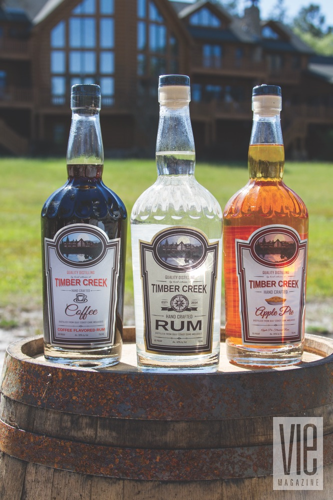 Timber Creek Distillery, Coffee Flavored Rum, Original Rum, and Apple Pie Flavored Rum.