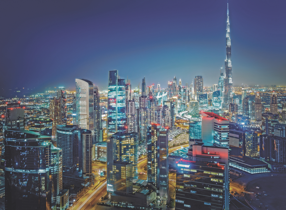 Dubai, United Arab Emirates Skyline Burj Khalifa Persian Gulf
