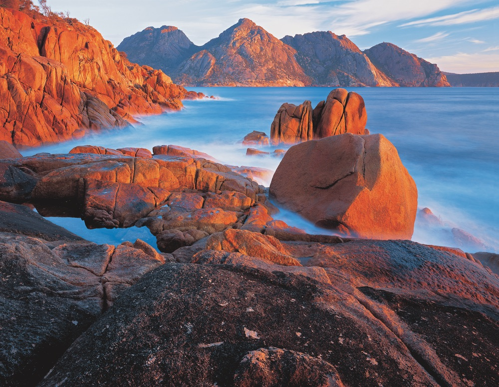 Sunrise in the Hazards Freycinet National Park Tasmania Travel