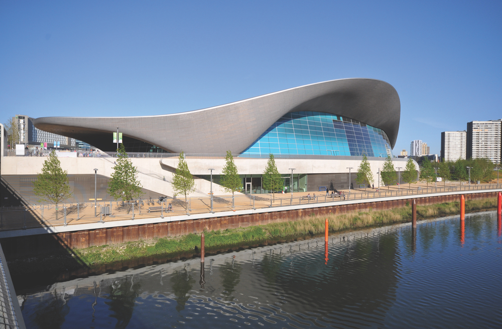 The London Aquatics Centre at Queen Elizabeth Olympic Park in Stratford, East London River Thames Zaha Hadid Architect Architecture