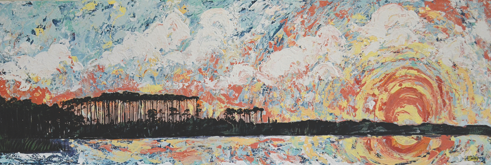Andy Saczynski collaborative painting with Ryan Manthey photography Painted Sunset Western Lake Florida