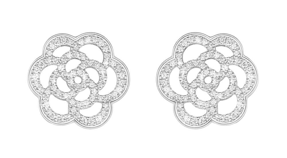 C'est La VIE Curated Collection Enchanted Garden Party Chanel Camélia Earrings in 18K White Gold and Diamonds