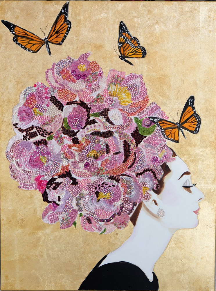 C'est La VIE Curated Collection Enchanted Garden Party The Audrey Series Ashley Longshore Painting