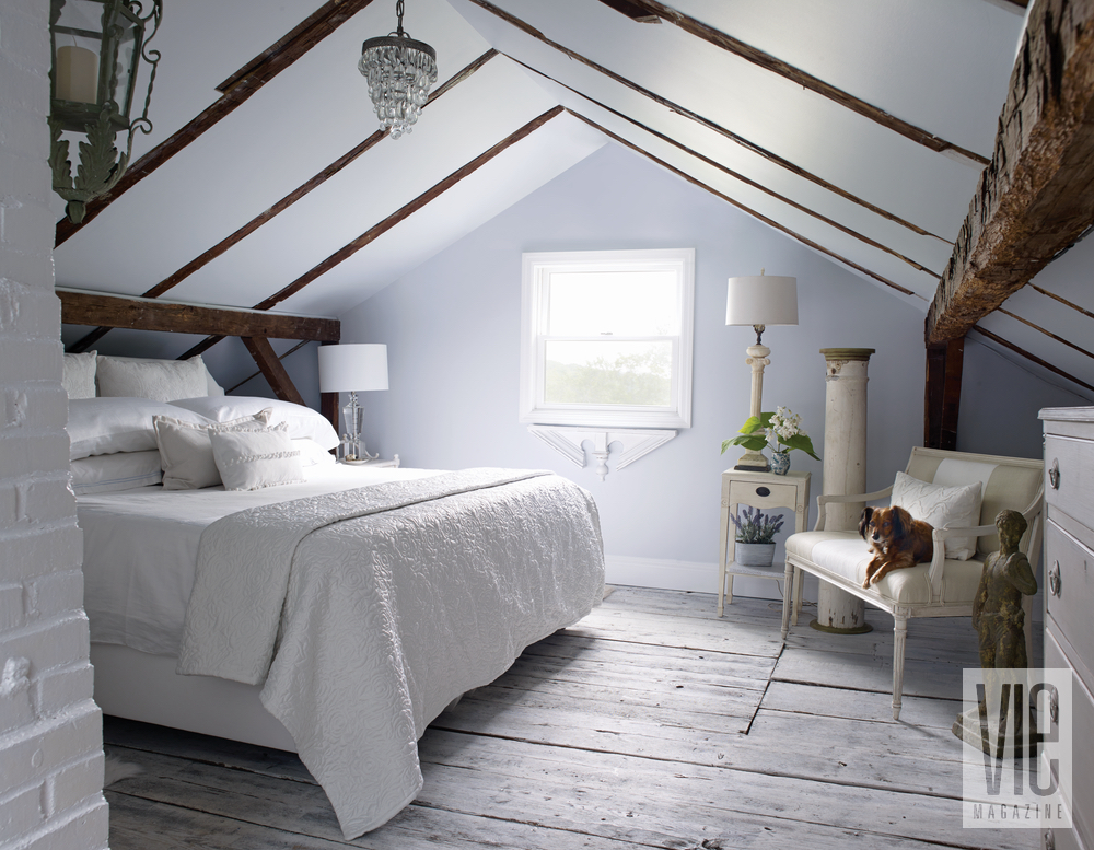 Christian Siriano and Brad Walsh attic converted into master bedroom Connecticut Home Bed Bath and Beyond floral print design interior