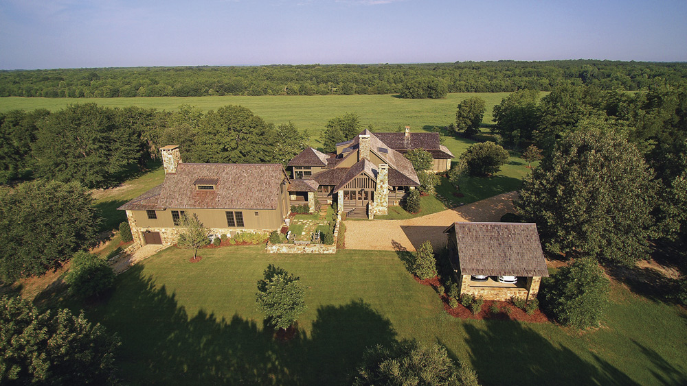 Jeff Dungan Architecture aerial shot of farm house architect design
