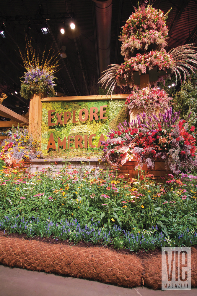 The entrance of the Philadelphia Flower Show with the Explore America theme Pennsylvania Horticultural Society