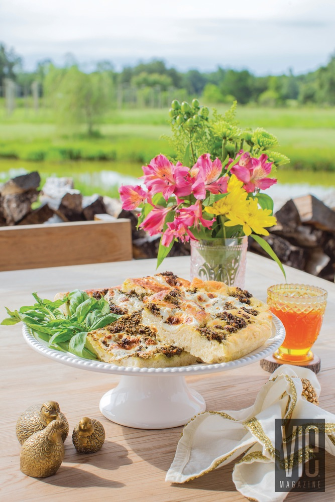 Pesto and Pecan Focaccia delicious recipes from the garden beautiful table setting