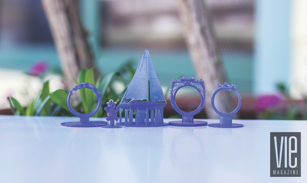 Four Different 3-D Pritned Ring Molds Sits Next To Each Other On A Table