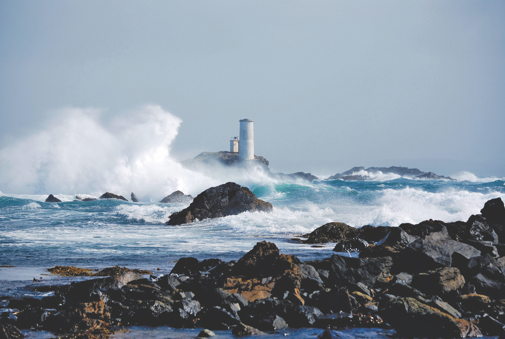 The Tower stands strong against the storms of winter Inishbofin Ireland