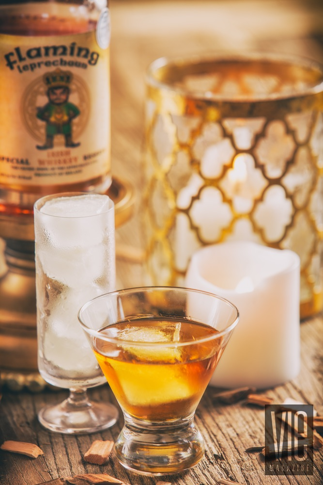 Detailed shot of Flaming Leprechaun whiskey The Sophisticate Issue 2016