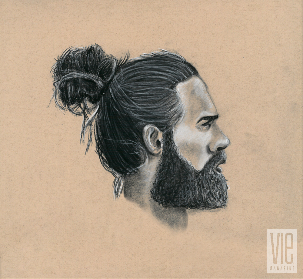 Bearded man with bun charcoal drawing Rinn Garlanger