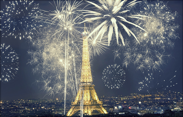 Paris France New Years Eve Celebration Fireworks