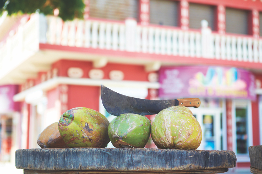 Palm trees abound on One Happy Island, and street vendors with fresh coconuts are abundant, providing a refreshing natural libation and a souvenir all in one.