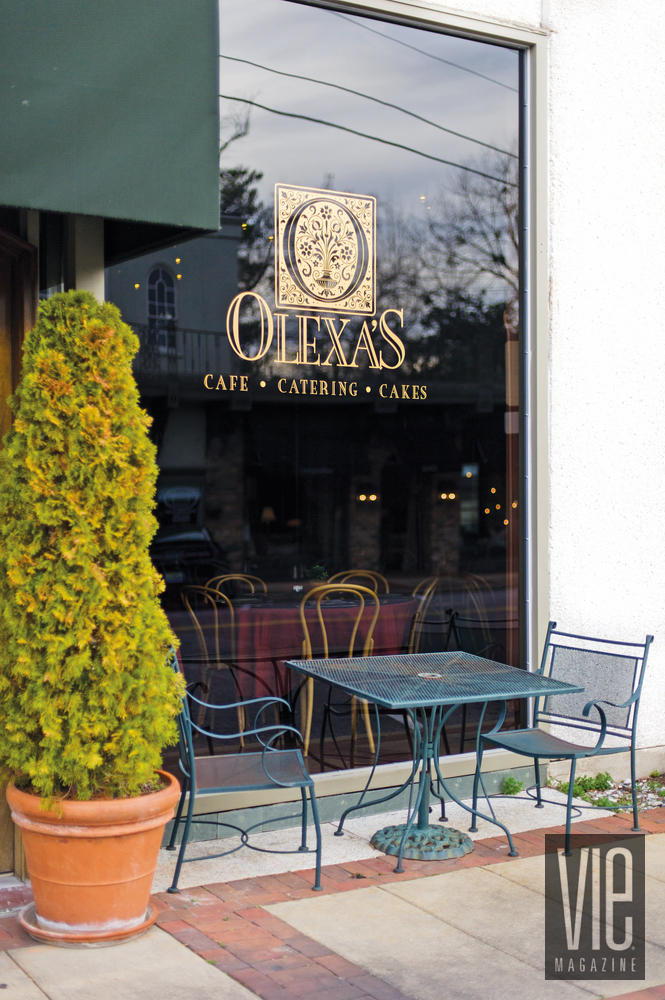 Restaurant window for Olexa's cafe in Mountain Brook, Birmingham, Alabama