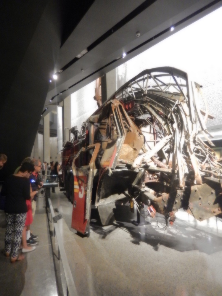 September 11 World Trade Center Memorial, destroyed firetruck