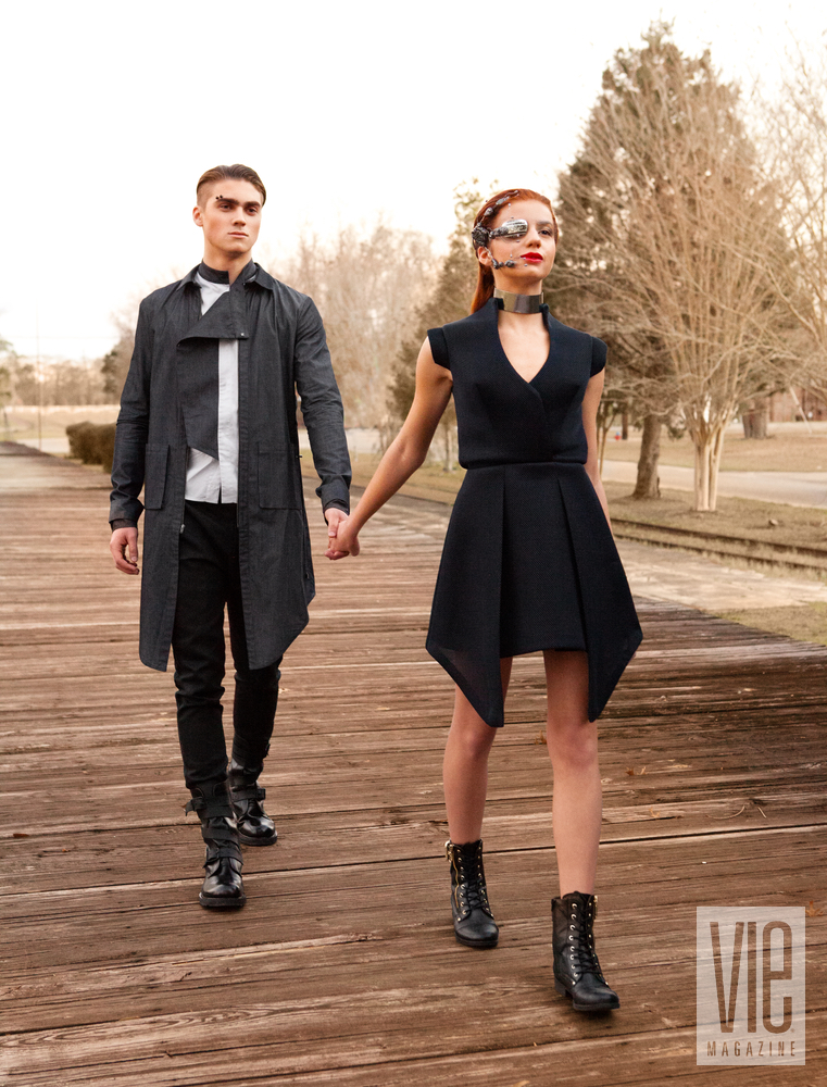 The models walk hand in hand into the future together Dystopia meets Utopia