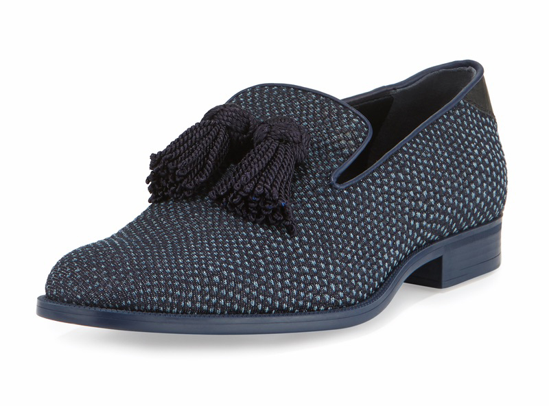 C'est la VIE Curated Collection; Jimmy Choo Foxley Python-Textured Denim Tassel Loafer
