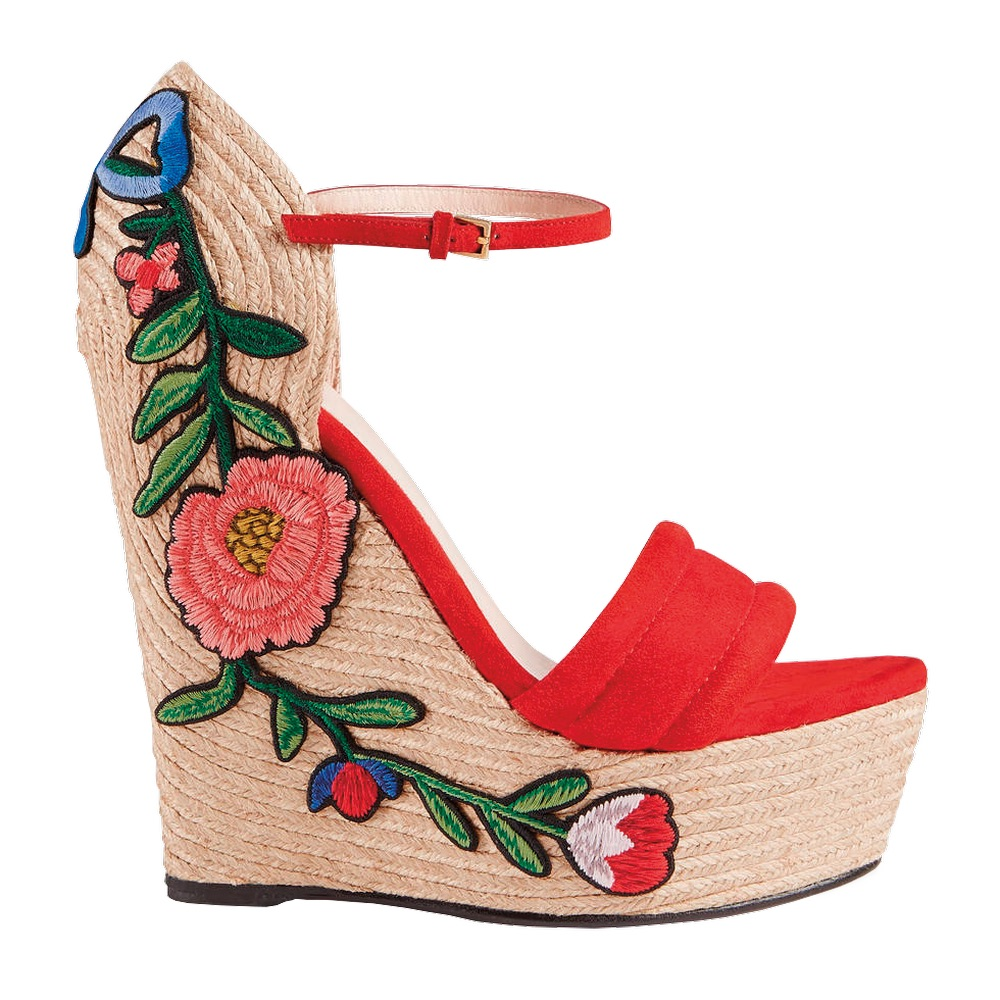 C'est la VIE Curated Collection; Embroidered Suede Platform Espadrille